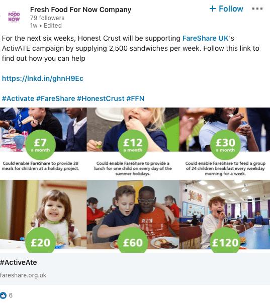 Social media screenshot of ActiveAte campaign